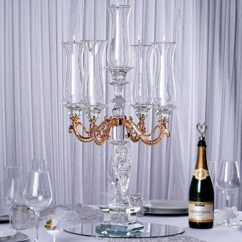 "30"" Tall Handcrafted 5 Gold Arm Crystal Glass Table Top Candelabra Hurricane Taper Candle Holder Centerpieces - PREMIUM Collection"