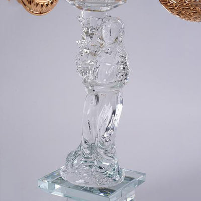 2.5 Ft Tall 5 Gold Arm PREMIUM Hurricane Taper Crystal Glass Candle Holder