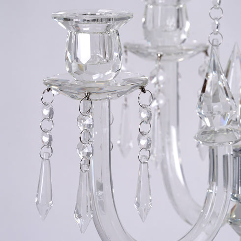 "22"" Tall Handcrafted 5 Arm Crystal Glass Candelabra Centerpieces - PREMIUM Collection"