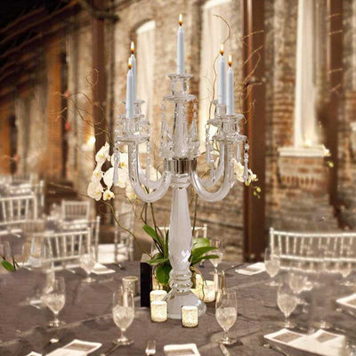 "22"" Tall 5 Arm PREMIUM Crystal Glass Candle Holder"