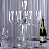 "20"" Tall Gem Cut 5 Arm Crystal Modern Glass tabletop Candelabra Taper Pillar Candle Holder Centerpieces - PREMIUM Collection"
