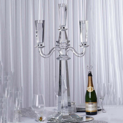 3 Ft Tall 3 Arm PREMIUM Gem Cut Crystal Glass Candle Holder