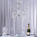 "35"" Tall 8 Arm 3 Tier PREMIUM Crystal Glass Candle Holder"