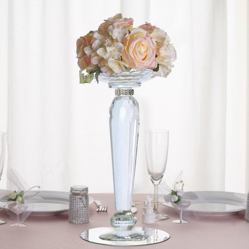 "2 Pack 11"" Tall Premium Cut Glass Crystal Pillar Candle Holder Floral Stand"
