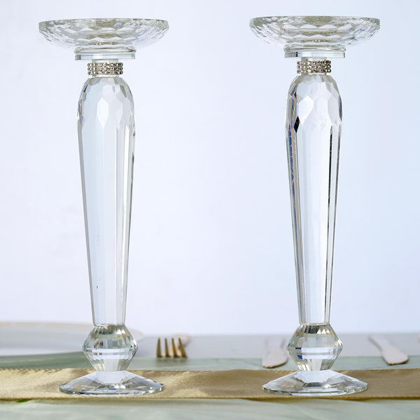 2 Pack 11 Quot Tall Premium Cut Glass Crystal Pillar Candle