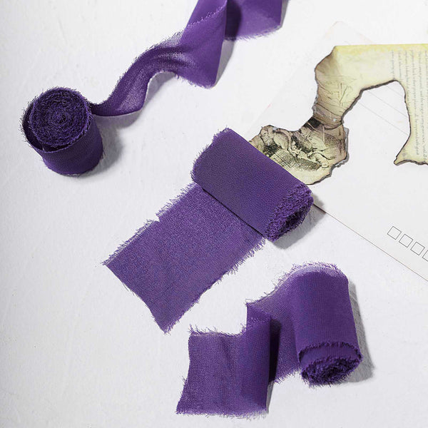 "1.5"" x 6Yard - Set of 2 Purple Chiffon Ribbon Rolls For Bouquets, Wedding Invitations & Gift Wrapping"