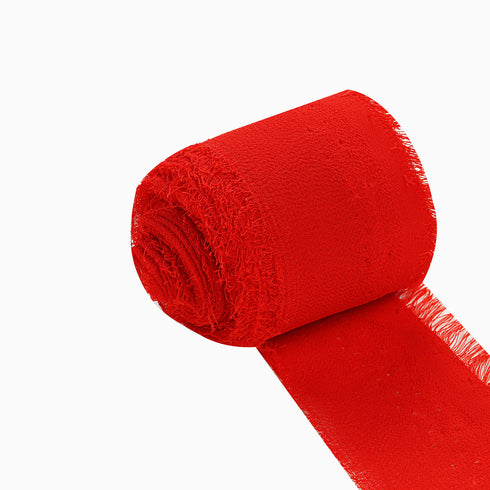 Set of 2 Red Chiffon Ribbon Rolls For Bouquets, Wedding Invitations & Gift Wrapping