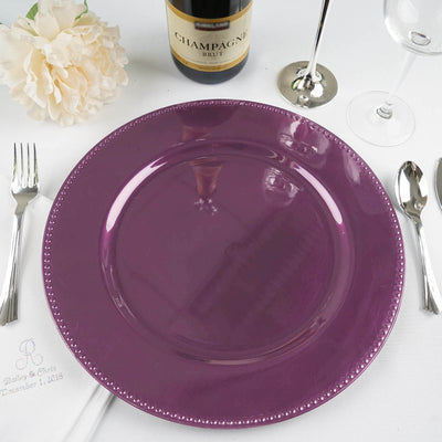 "Round 13"" Beaded Acrylic Charger Plates - Eggplant - 6 Pack"