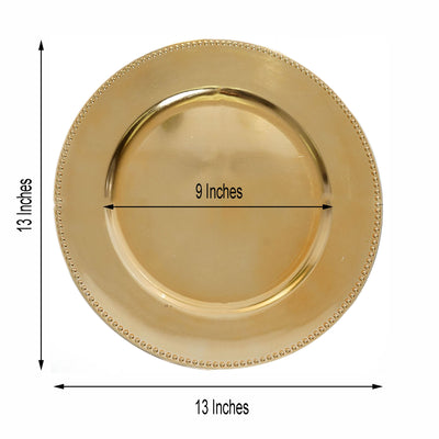 "6 Pack |13"" Gold Round Acrylic Beaded Charger Plates"