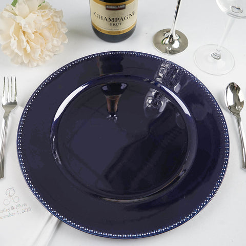 Round 13 Quot Beaded Acrylic Charger Plates Black 6 Pack