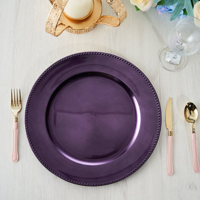 "6 Pack |13"" Purple Round Acrylic Beaded Charger Plates"