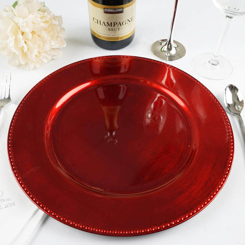 "6 Pack |13"" Red Round Acrylic Beaded Charger Plates"