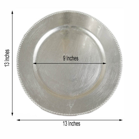 "6 Pack |13"" Silver Round Acrylic Beaded Charger Plates"