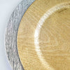 Pack of 6 |13inch Round Wooden Textured Silver Acrylic Charger Plates