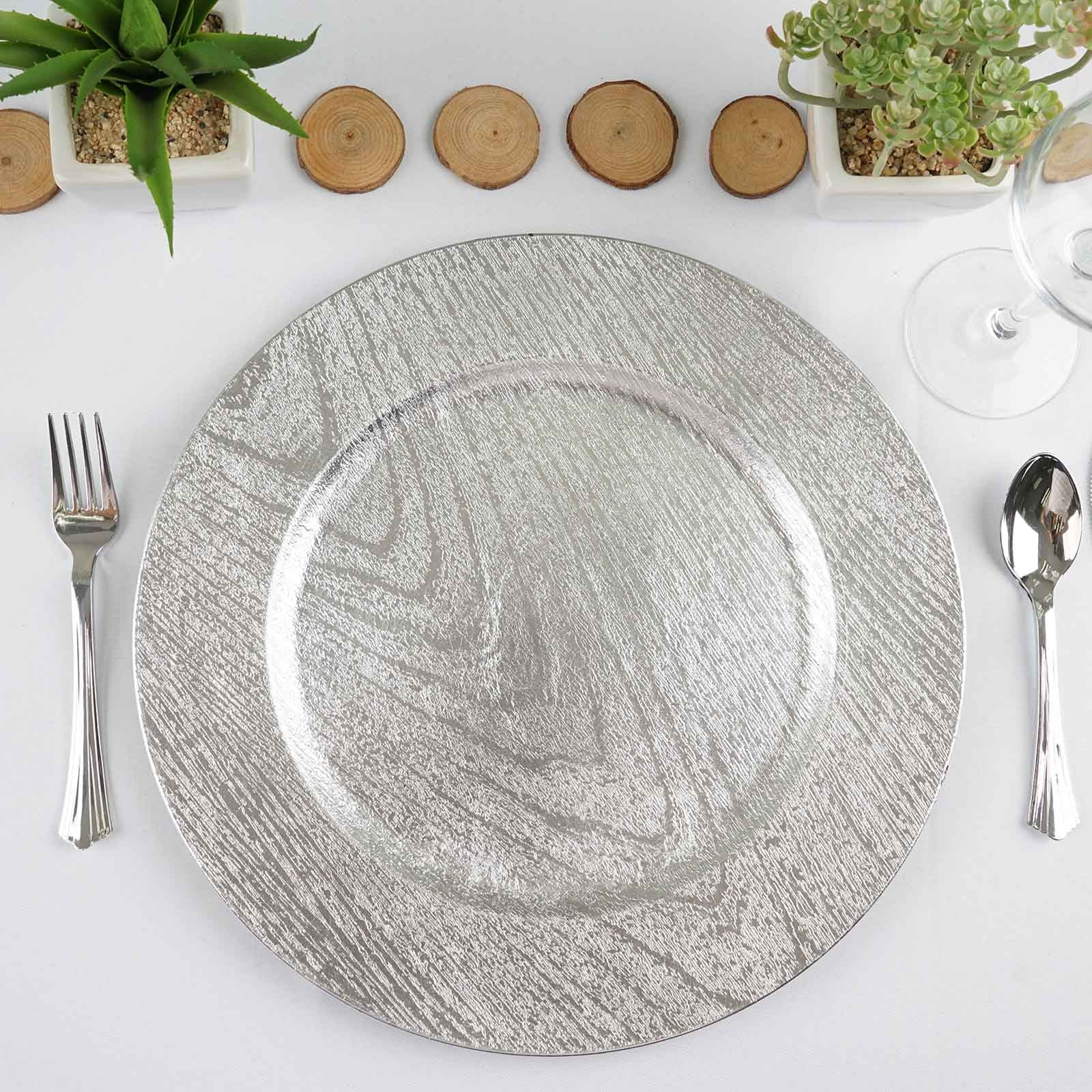 Black and white stripe charger plates - 24 Pack Round 13 Wooden Textured Silver Acrylic Charger Plates Wedding Party Dinner Servers