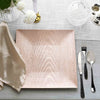 Pack of 6 |12 inch Square Wooden Textured Acrylic Charger Plates - Blush | Rose Gold