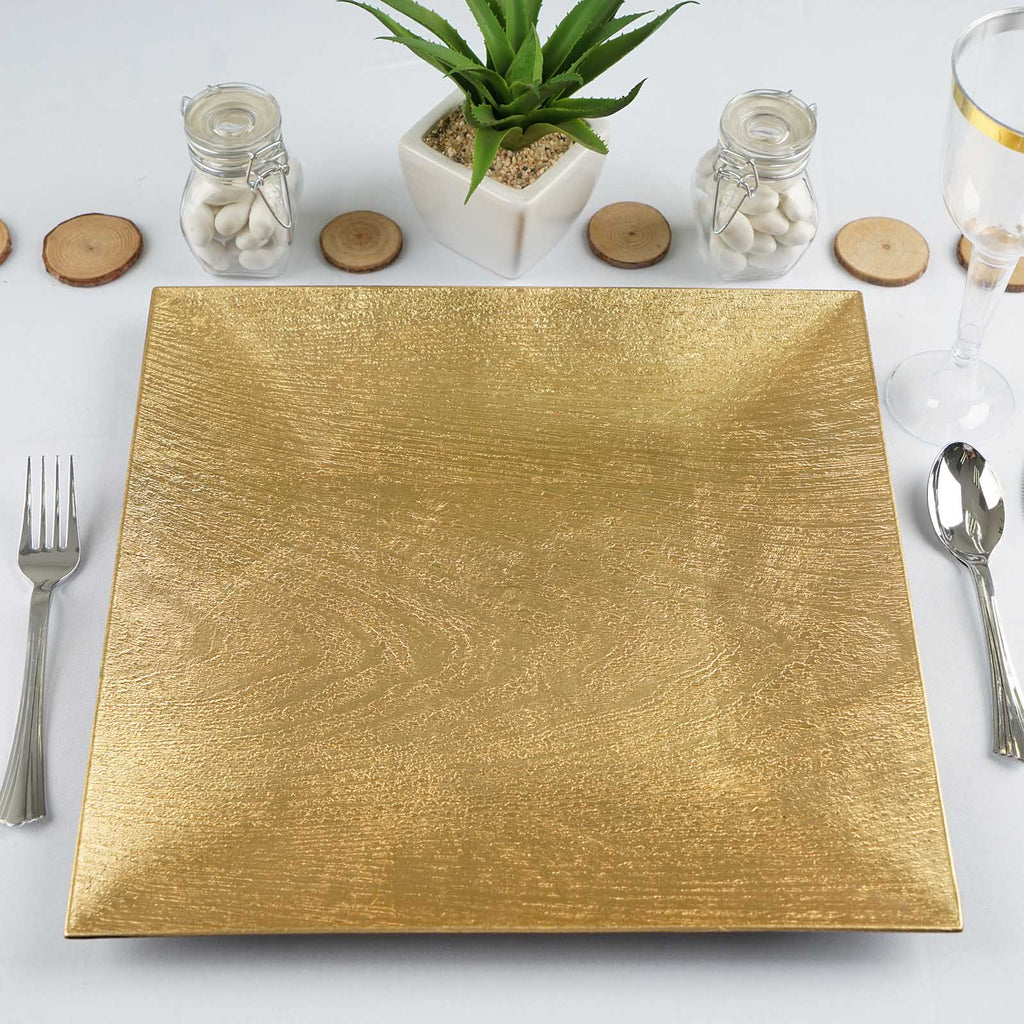 "12"" Wooden Textured Gold Square Acrylic Charger Plates Dinner Placement For Wedding Party-24 PCS"
