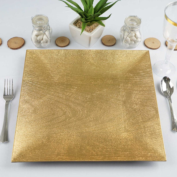"Pack of 6 |12"" Square Wooden Textured Gold Acrylic Charger Plates"