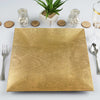 "6 Pack |12"" Square Wooden Textured Gold Acrylic Charger Plates"