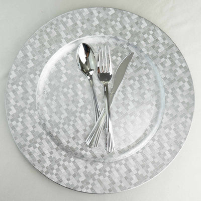 "6 Pack | 13"" Round Silver Mosaic Acrylic Plastic Charger Plates"