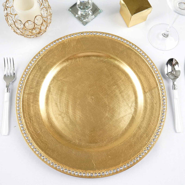 "Pack of 6 |13"" Round Gold Acrylic Charger Plates With Rhinestones"