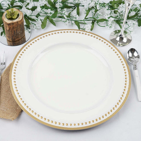 "13"" Round Gold Rim Crystal Beaded White Acrylic Charger Plates Wedding Party Dinner Servers - Set of 24"