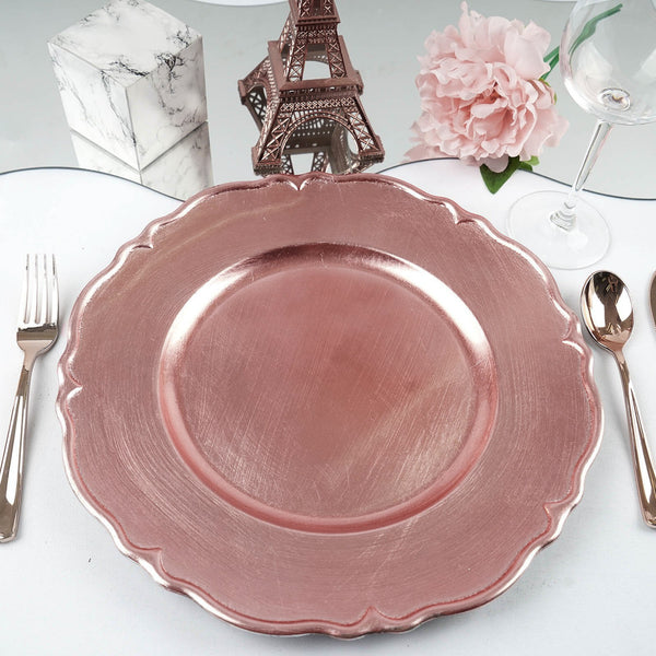 13 Quot Metallic Scalloped Acrylic Charger Plates Rose Gold