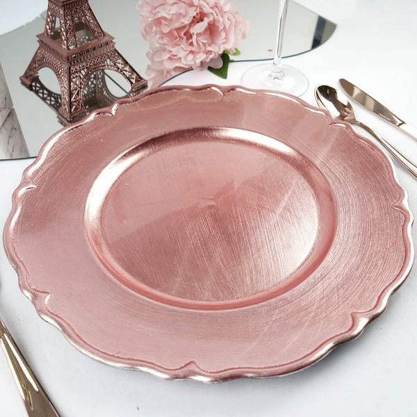 "Pack of 6 |13"" Metallic Scalloped Edge Acrylic Plastic Charger Plates- Rose Gold 