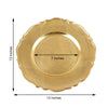 Pack of 6 | 13inch Metallic Gold Scalloped Edge Acrylic Plastic Charger Plates