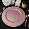 Pack of 6 | 13inch Round Blush | Rose Gold Glitter Acrylic Plastic Charger Plates
