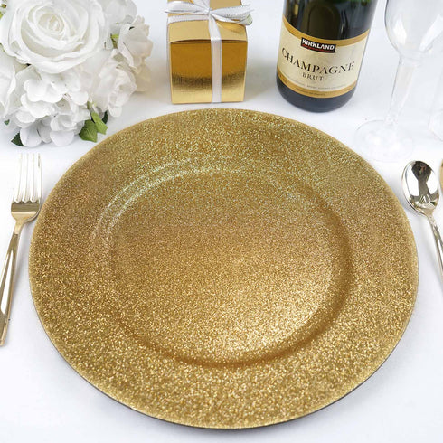 "6 Pack | 13"" Round Gold Glitter Acrylic Plastic Charger Plates"