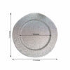 "Pack of 6 | 13"" Round Silver Glitter Acrylic Plastic Charger Plates"