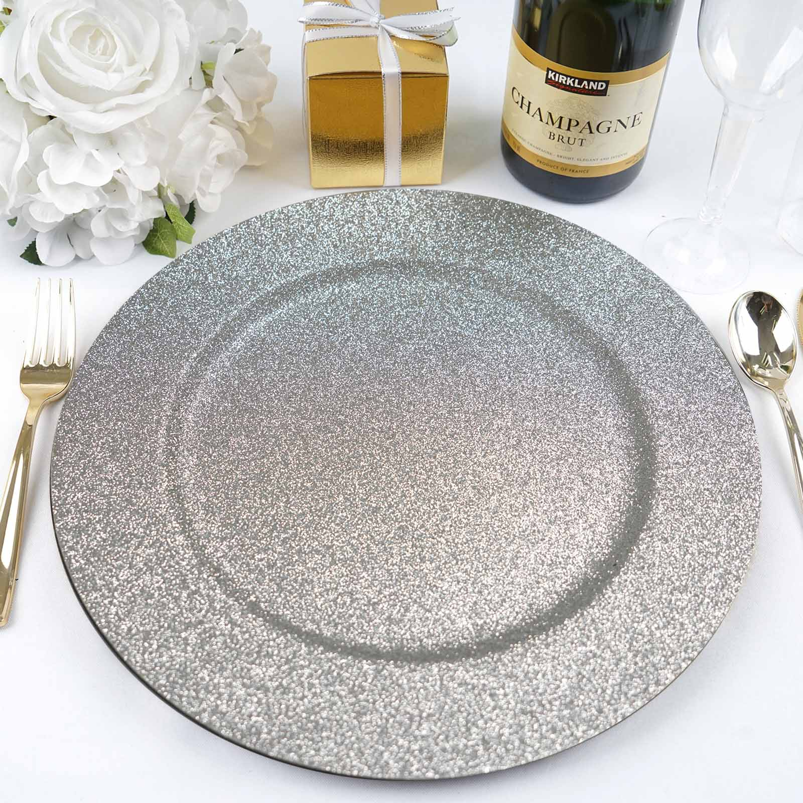 Silver Plastic Beaded Charger Plates Silver, 6 6 pcs 13 Inch Round Wedding Party Decroation Charger Plates