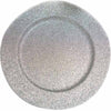 "6 Pack | 13"" Round Silver Glitter Acrylic Plastic Charger Plates"