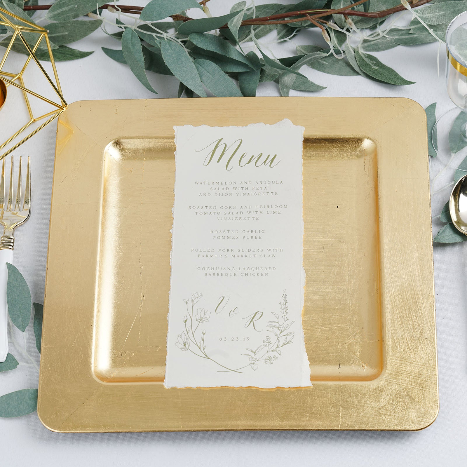 """24 pcs 12/"""" GOLD SQUARE WOODEN TEXTURE CHARGER PLATES Wedding Party Dinner SALE"""
