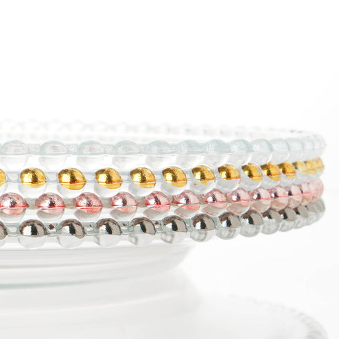 "8 Pack | 12"" Round Clear Glass Beaded Chargers"