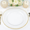 "8 Pack | 12"" Round Gold Beaded Glass Charger Plates"