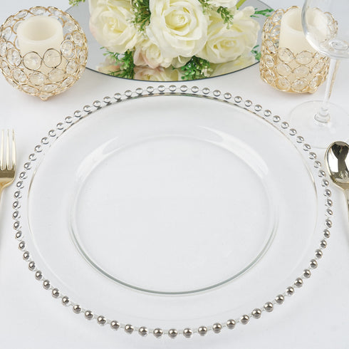 "8 Pack | 12"" Round Silver Beaded Glass Charger Plates"