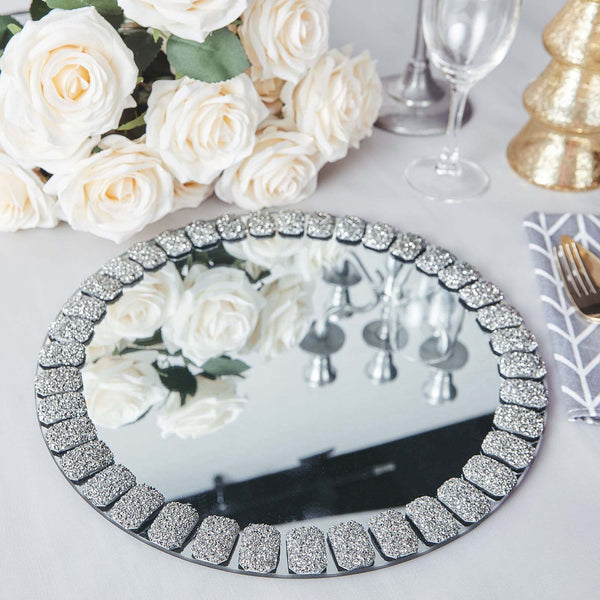 "2 Pack | 13"" Silver Mirror Glass Charger Plates with Glitter Jeweled Rim"