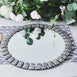 2 Pack 13 inch Silver Mirror Glass Charger Plates with Glitter Jeweled Rim