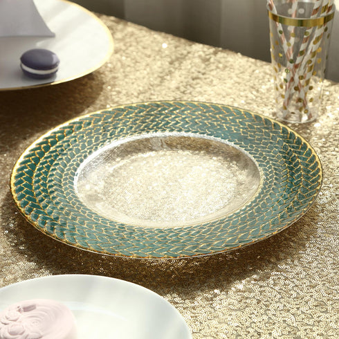 "8 Pack - 13"" Clear Round Decorative Glass Charger Plates with Teal Green and Gold Braided Rim"