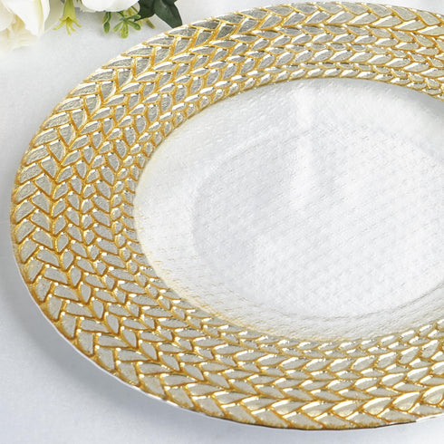 "8 Pack - 13"" Clear Round Decorative Glass Charger Plates with Silver and Gold Braided Rim"