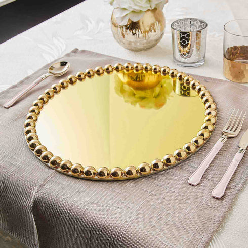 13 inch Round Gold Mirror Glass Charger Plates with Large Pearl Beaded Rim