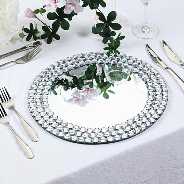 "Set of 2 | 13"" Round Silver Mirror Glass Charger Plates with Diamond Beaded Rim"