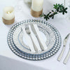 Set of 2 | 13 inch Round Silver Mirror Glass Charger Plates with Diamond Beaded Rim