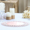 "14"" - Rose Gold - Wired Metal Charger Plate With 118 Acrylic Crystal Beads"