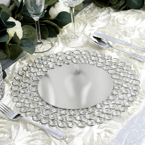 "14"" - Silver - Wired Metal Charger Plate With 118 Acrylic Crystal Beads"