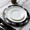 4 Pack | 13 inch Black/White Buffalo Plaid Metal Charger Plates