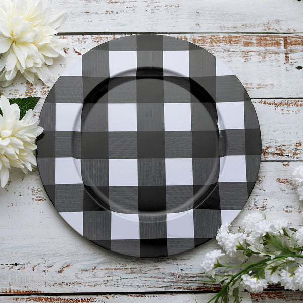 "4 Pack | 13"" Wedding Charger Plates, Buffalo Plaid Metal Checkered Charger Plates - Black/White"