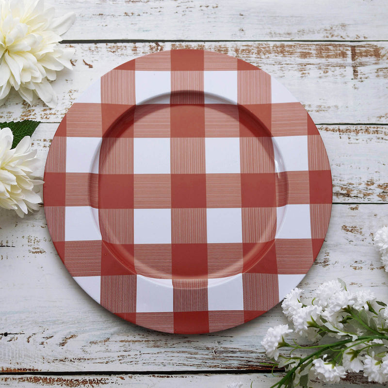 Buffalo Plaid Metal Charger Plates Checkered Dinner Chargers - Red/White